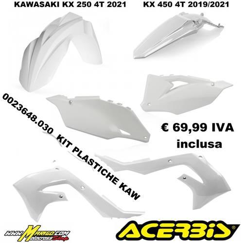 KIT PLASTICHE KAWASAKI  KX250 4T 2021  KX450 4T 2019/2021  BIANCO