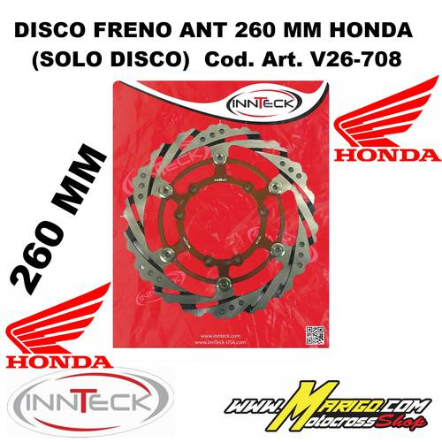DISCO FRENO ANT. INNTECK  260 MM flottante  HONDA