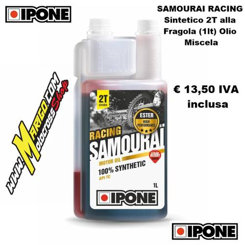 11- SAMOURAI RACING Sintetico 2T alla Fragola (1lt) Olio Miscela
